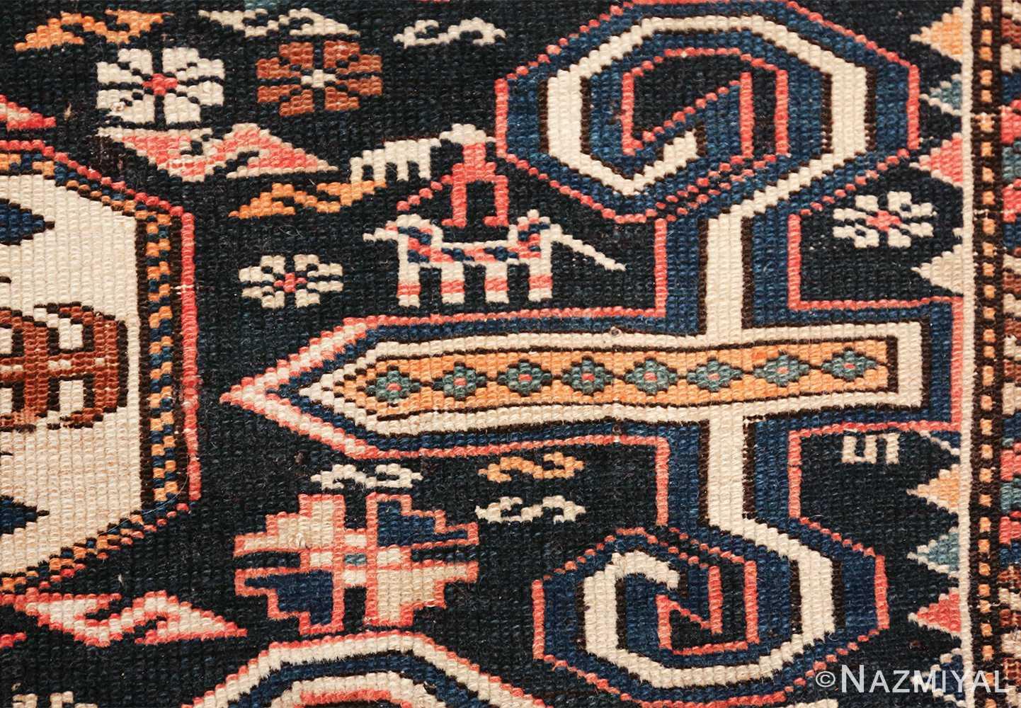 small size antique tribal perpedil caucasian rug 49540 horseman Nazmiyal