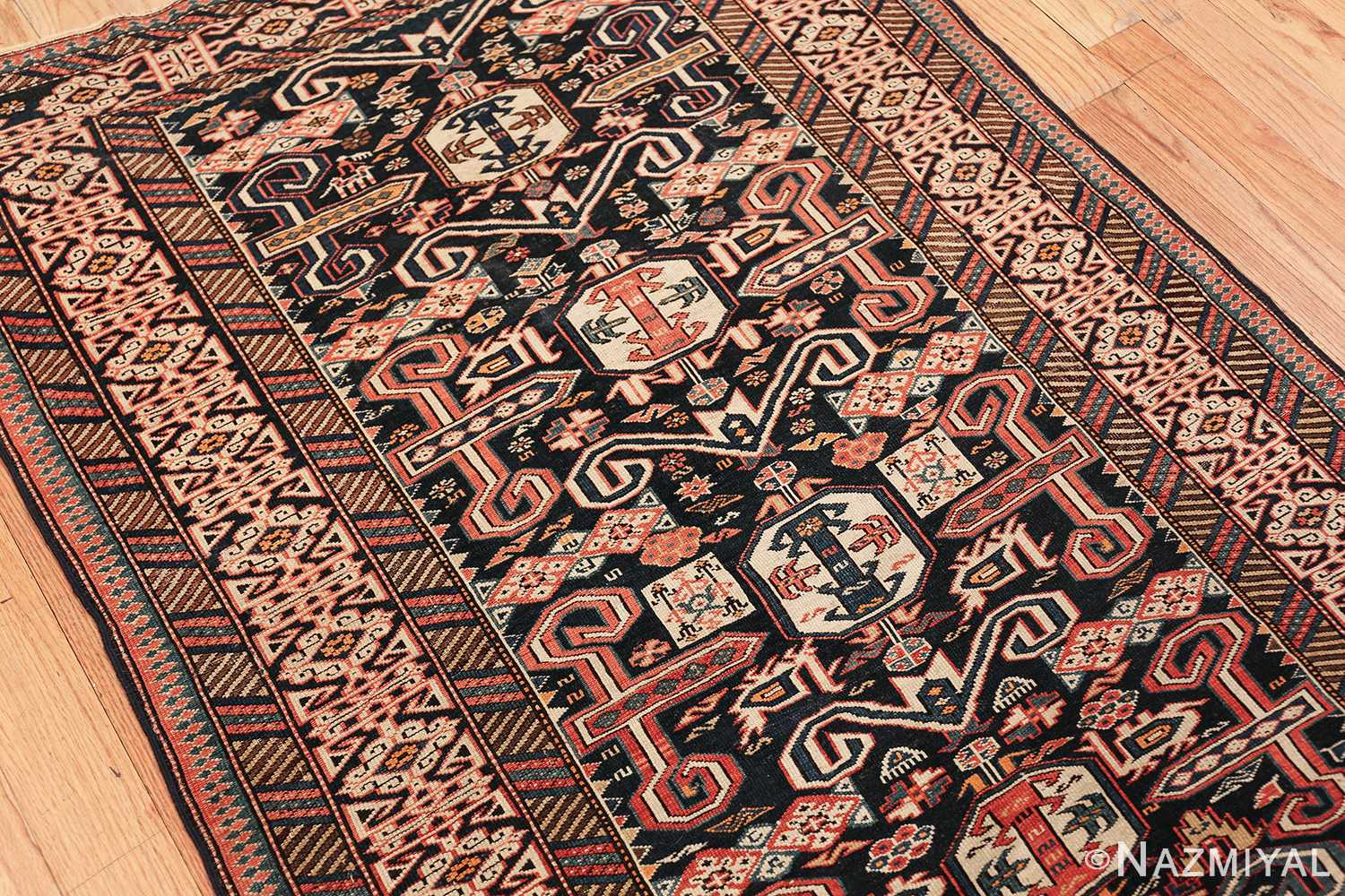 small size antique tribal perpedil caucasian rug 49540 side Nazmiyal