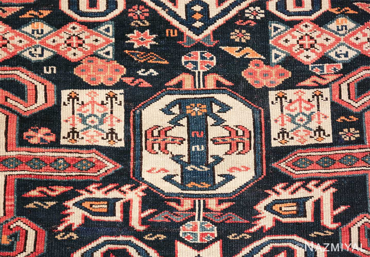 small size antique tribal perpedil caucasian rug 49540 square Nazmiyal