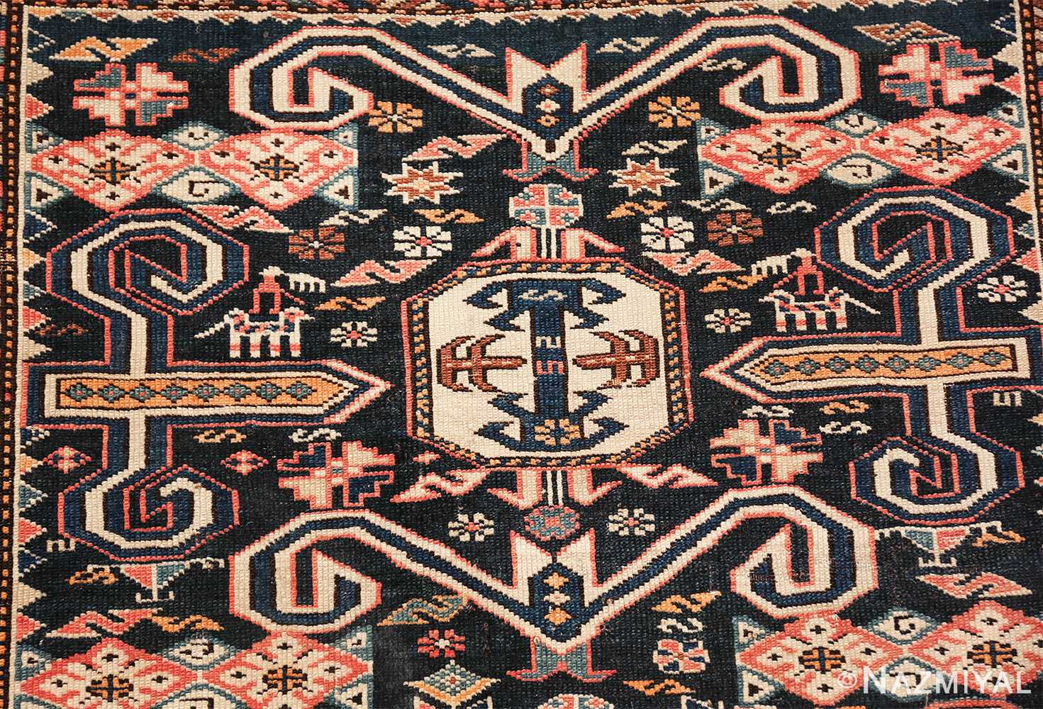 small size antique tribal perpedil caucasian rug 49540 top Nazmiyal