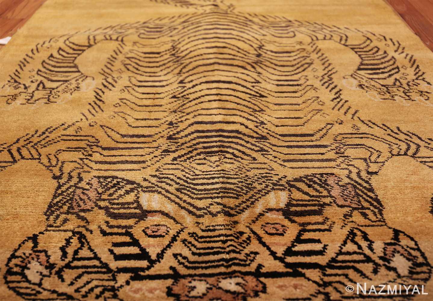 tiger design vintage chinese rug 49560 aerial Nazmiyal