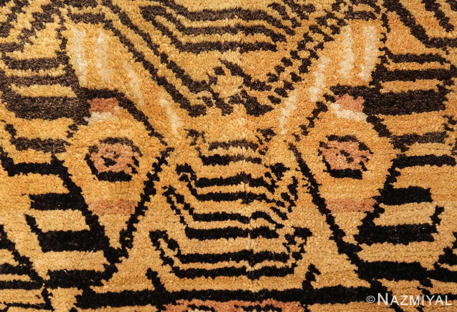 tiger design vintage chinese rug 49560 eyes Nazmiyal