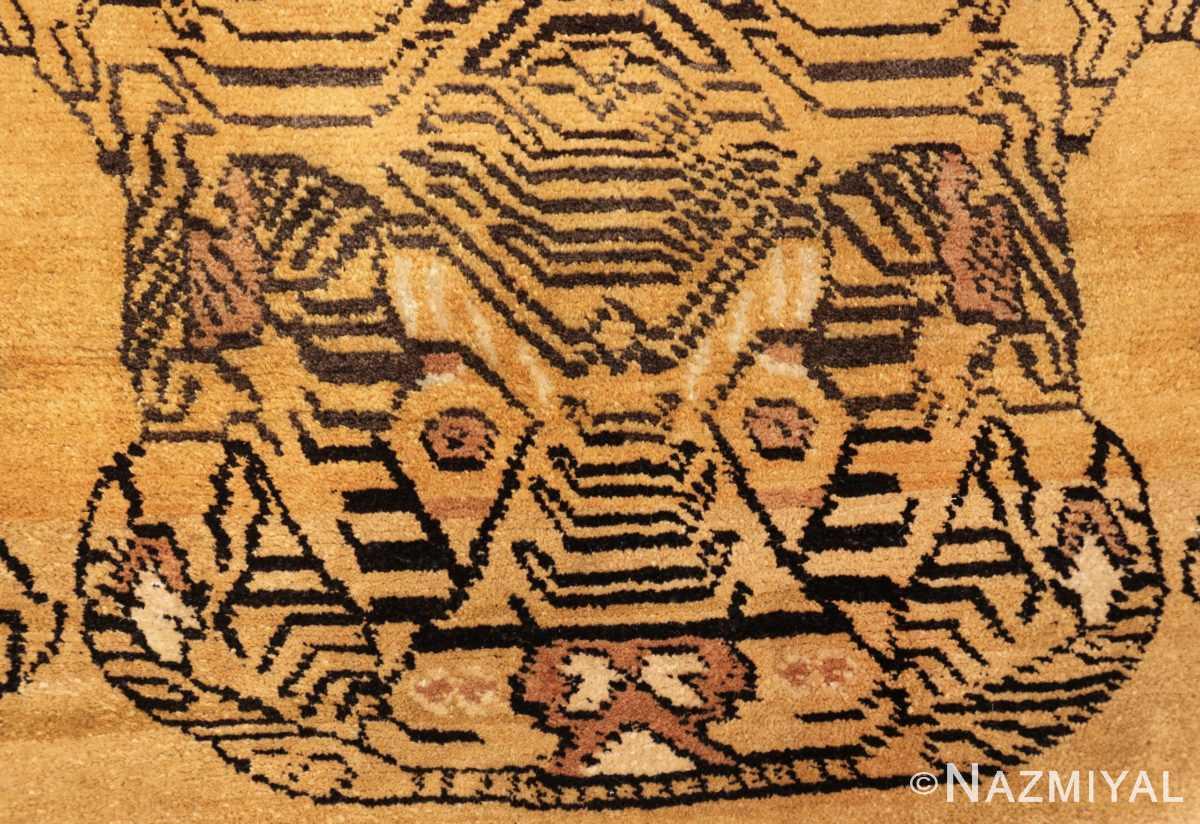 tiger design vintage chinese rug 49560 head Nazmiyal