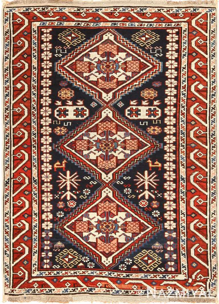 Small Running Dog Design Antique Caucasian Shirvan Rug 49580 by Nazmiyal