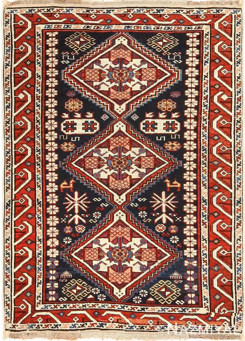 Small Running Dog Design Antique Caucasian Shirvan Rug 49580 by Nazmiyal