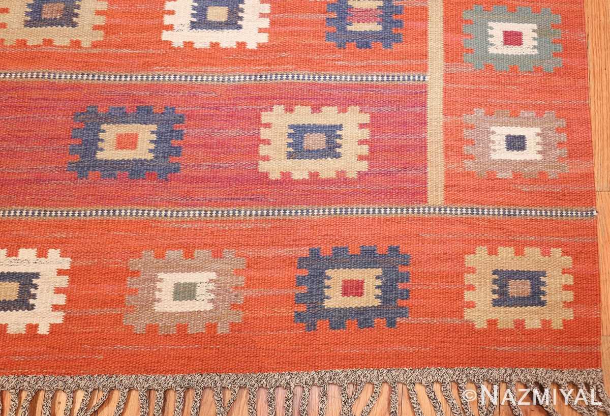 vintage flat woven marta maas scandinavian rug 49568 corner Nazmiyal