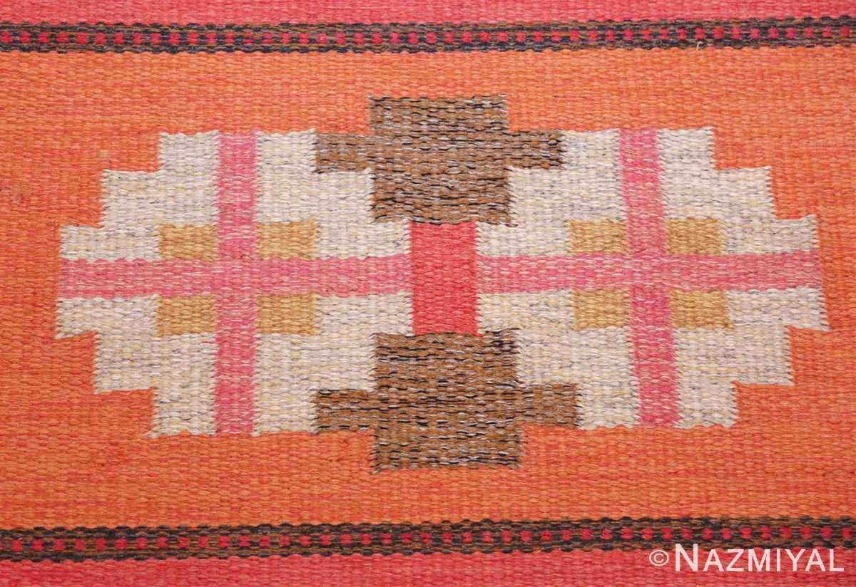 vintage flat woven scandinavian rug by ingegerd silow 49583 orange Nazmiyal