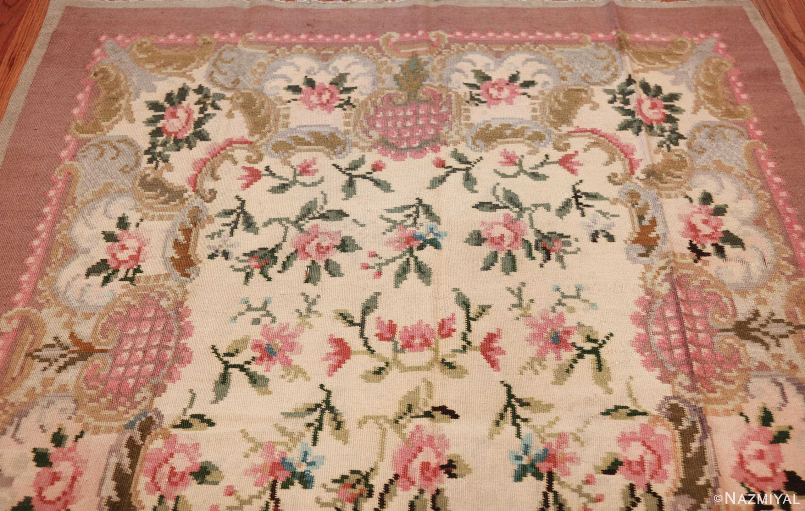 vintage floral romanian bessarabian rug 50379 top Nazmiyal