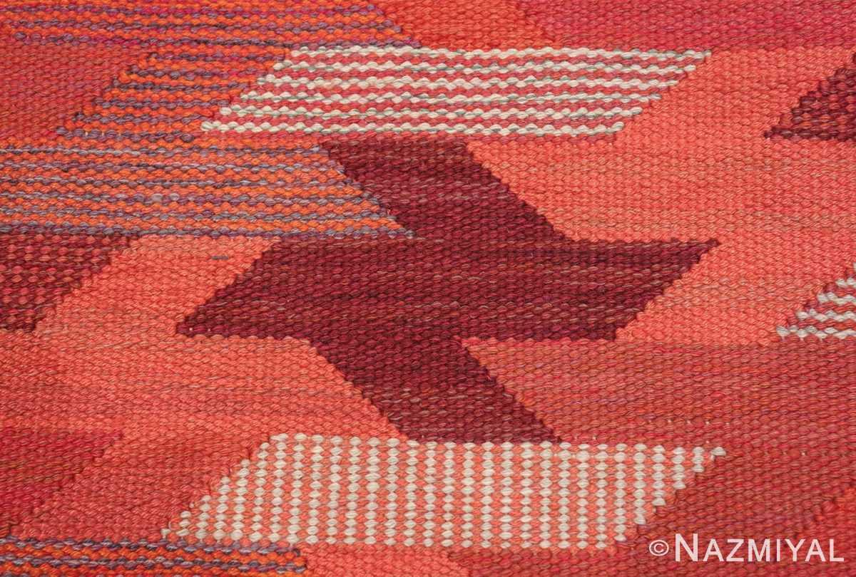 vintage geometric marta maas scandinavian rug by barbro nilsson 49563 closeup Nazmiyal