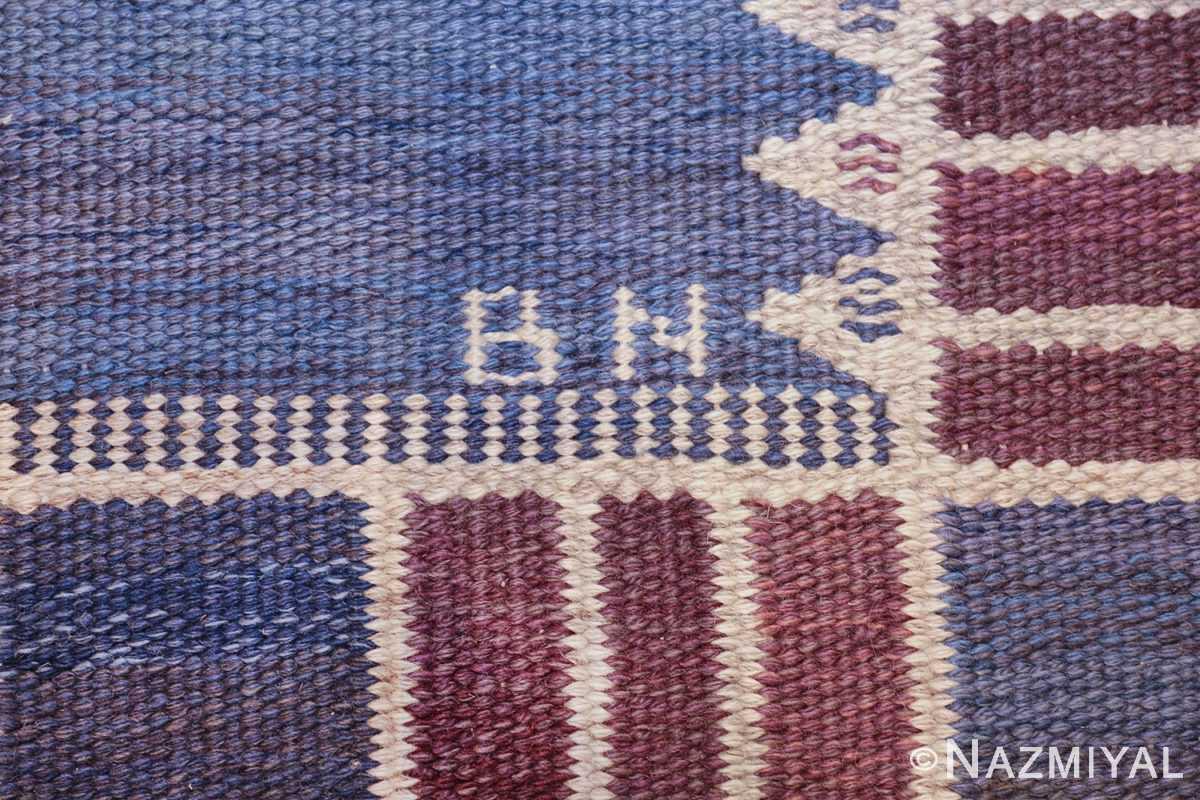 vintage geometric scandinavian kilim rug by barbro nilsson 49572 bn Nazmiyal