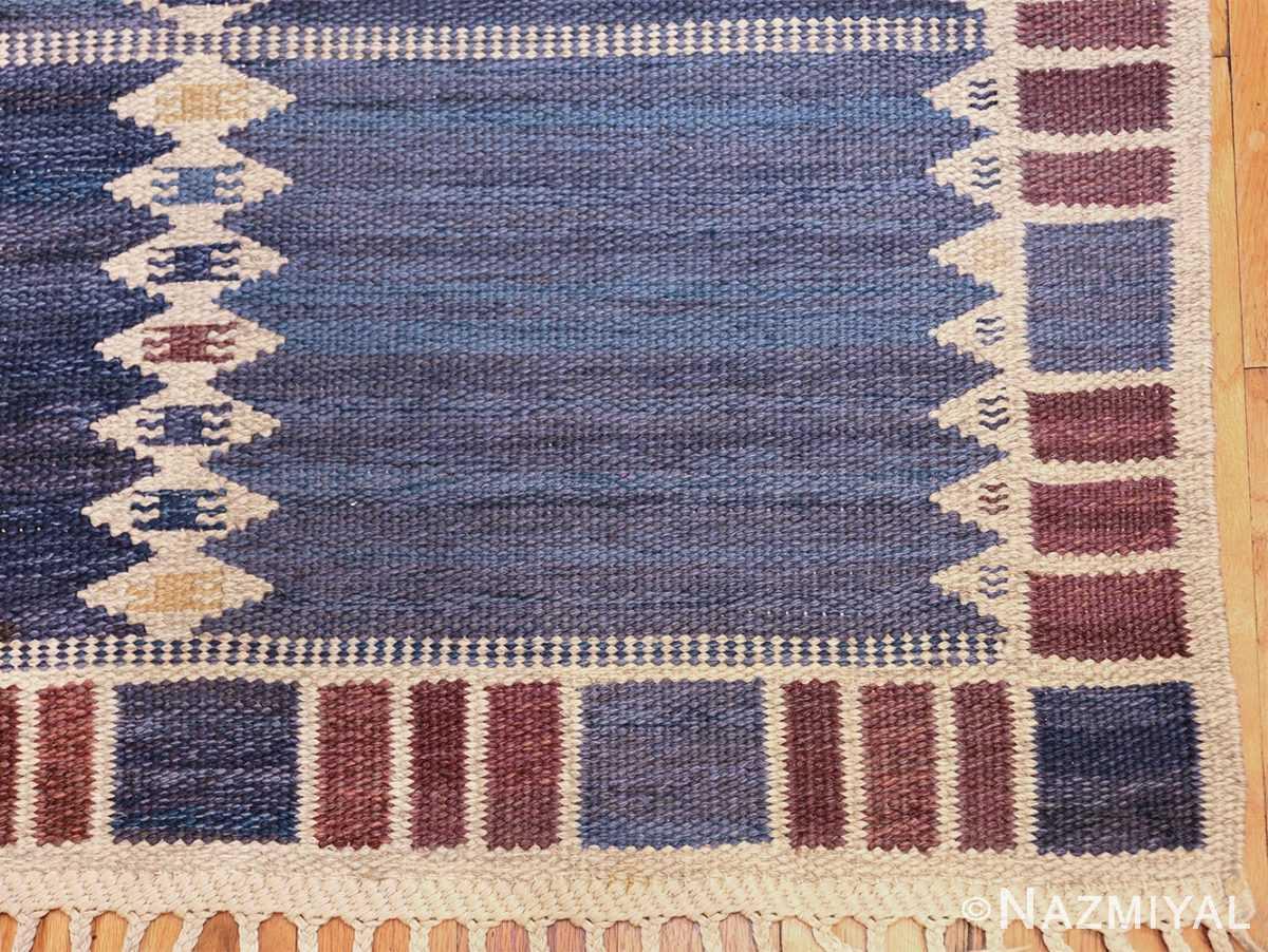 vintage geometric scandinavian kilim rug by barbro nilsson 49572 corner Nazmiyal
