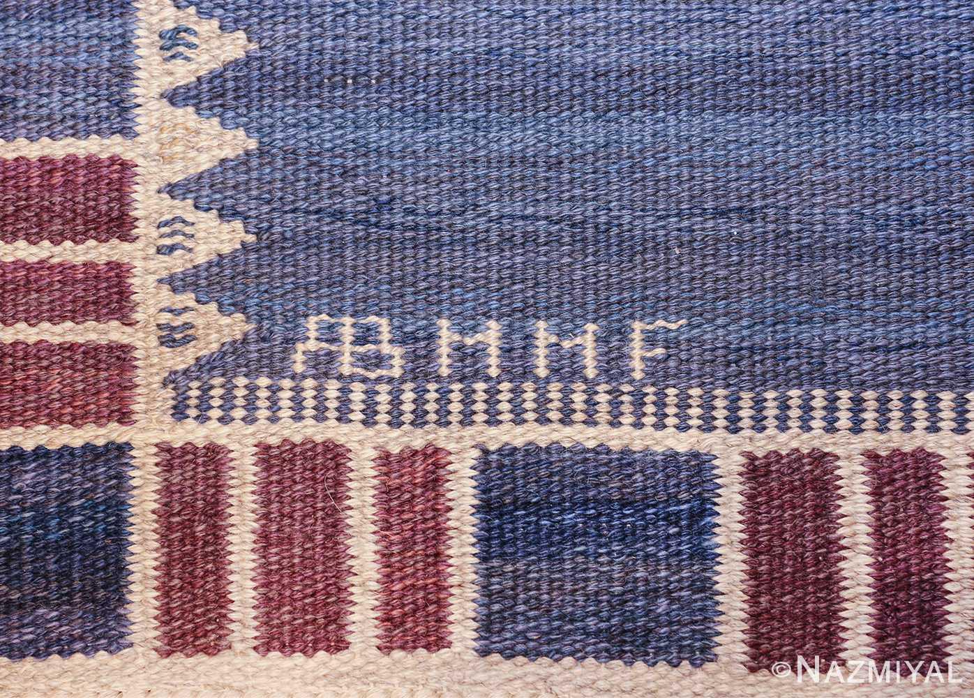 vintage geometric scandinavian kilim rug by barbro nilsson 49572 mmf Nazmiyal