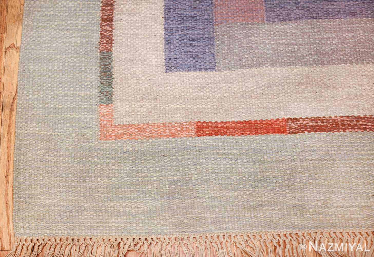 vintage geometric signed nn swedish scandinavian rug 49584 corner Nazmiyal