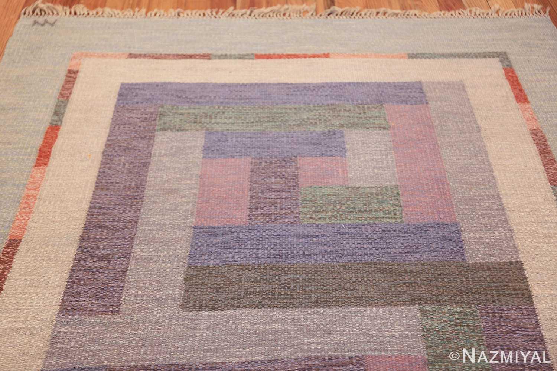 vintage geometric signed nn swedish scandinavian rug 49584 top Nazmiyal