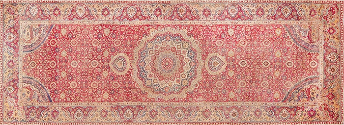 Red 17th Century Mughal Carpet #47597 by Nazmiyal