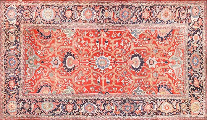 Red Antique Large Persian Serapi Carpet 49007 by Nazmiyal