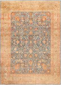 Antique Room Size Light Blue and Rust Persian Khorassan Rug 49634 by nazmiyal