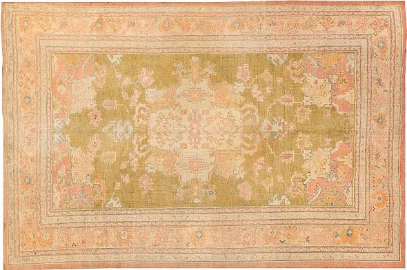 Green and Pink Antique Turkish Oushak Rugs by Nazmiyal