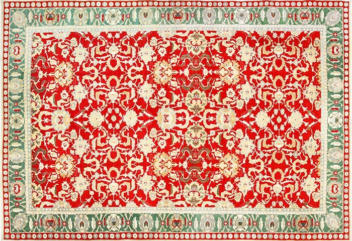 Large Antique Red Indian Agra Carpet 49304 by Nazmiyal