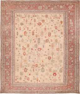 Large Ivory Background Tribal Antique Turkish Oushak Rug 49658 by Nazmiyal