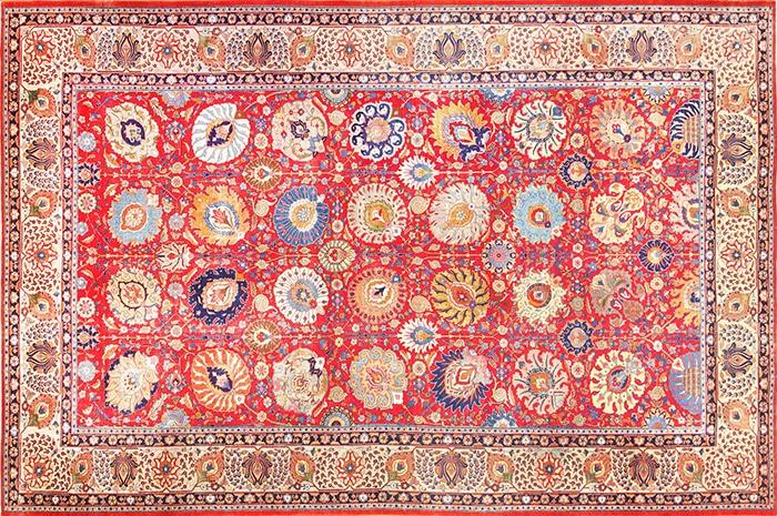 Large Red Color Background Antique Persian Tabriz Carpet 49196 Nazmiyal