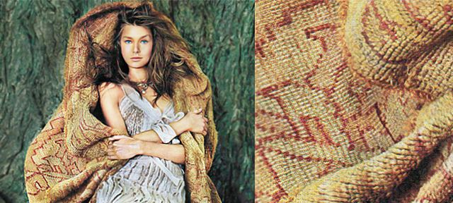 Model Wrapped In An Oushak Rug by Nazmiyal
