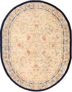 oval antique ivory background chinese rug 49592 Nazmiyal
