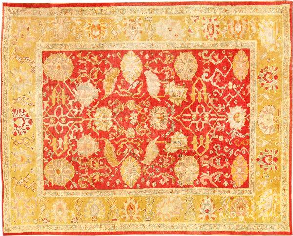 Red Antique Turkish Oushak Carpet by Nazmiyal