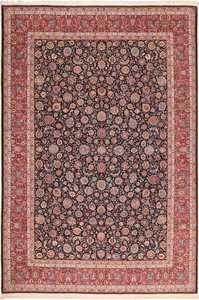 Fine Vintage Floral Silk and Wool Persian Khorassan Rug 60018 by Nazmiyal