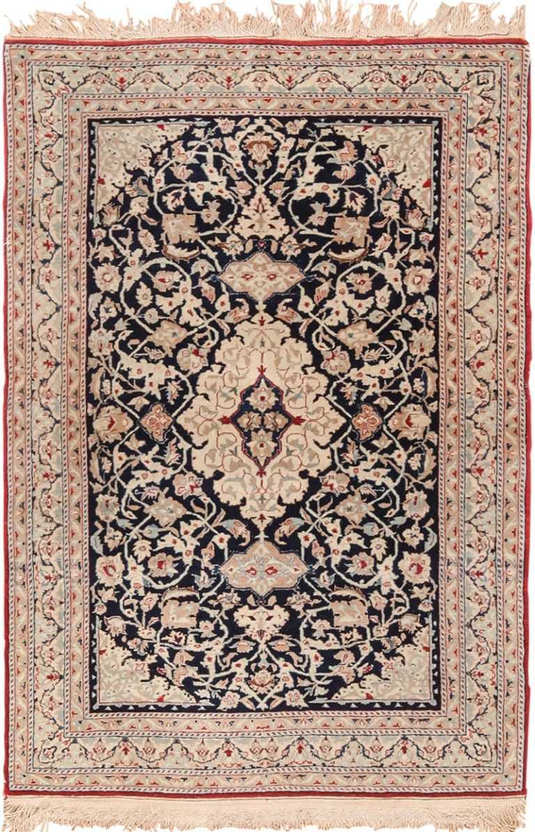Small Scatter Size Vintage Silk and Wool Persian Nain Rug 49616 by Nazmiyal