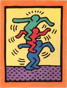 Small Size Vintage Keith Haring Balancing Figures Art Rug 49660 by Nazmiyal