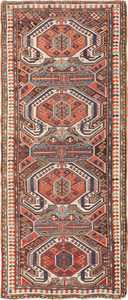 Long and Narrow Antique Caucasian Turtle Kazak Rug 49644 by nazmiyal