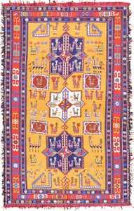 Rare Gold Background Vintage Tribal Silk Caucasian Soumak 49607 by Nazmiyal