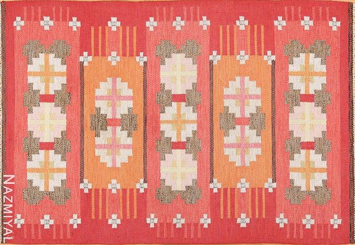 Vintage Scandinavian Red Carpet by Ingegerd Silow 49583 Nazmiyal