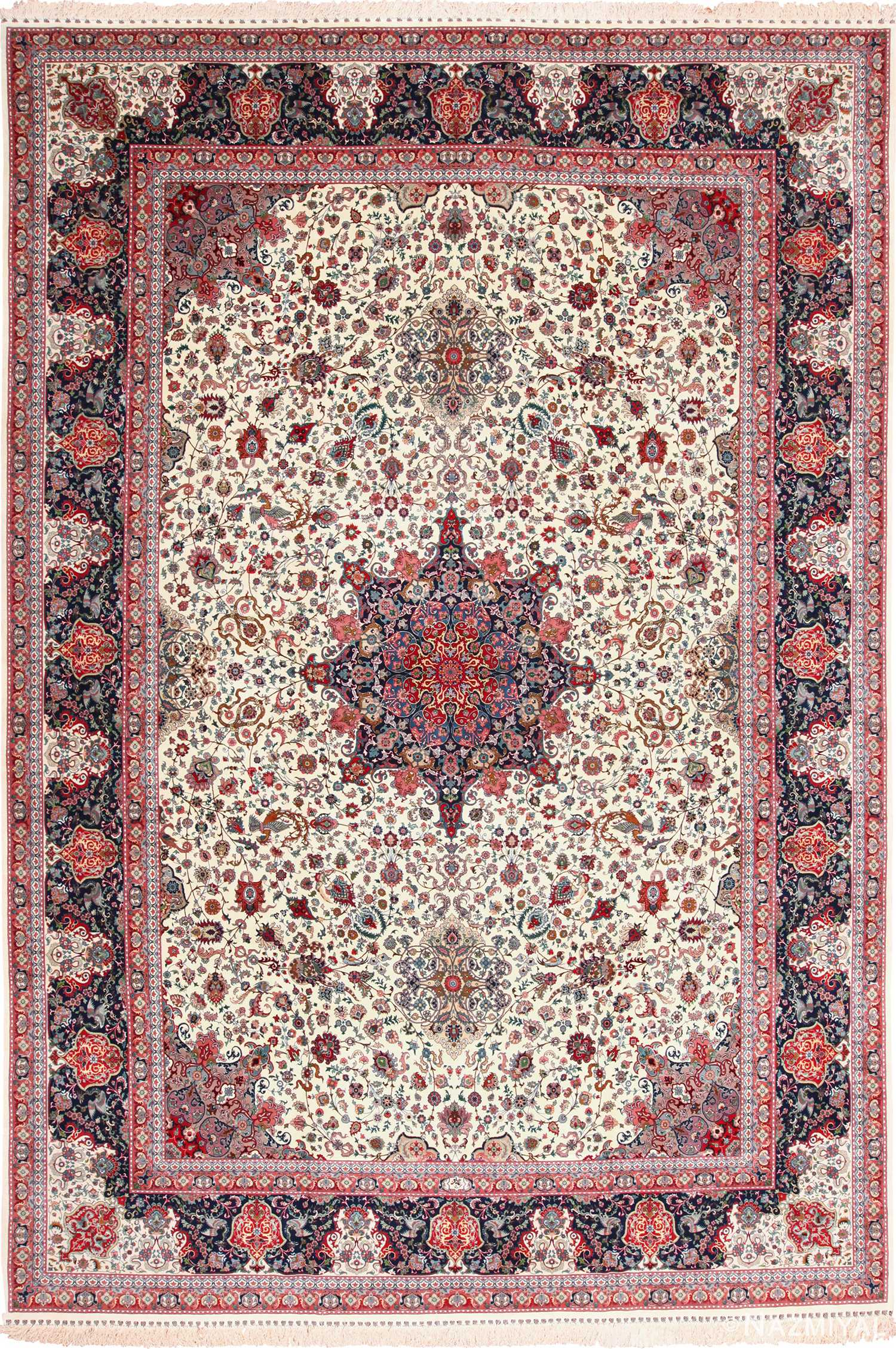 Large Vintage Silk And Wool Persian Tabriz Rug 60016 By