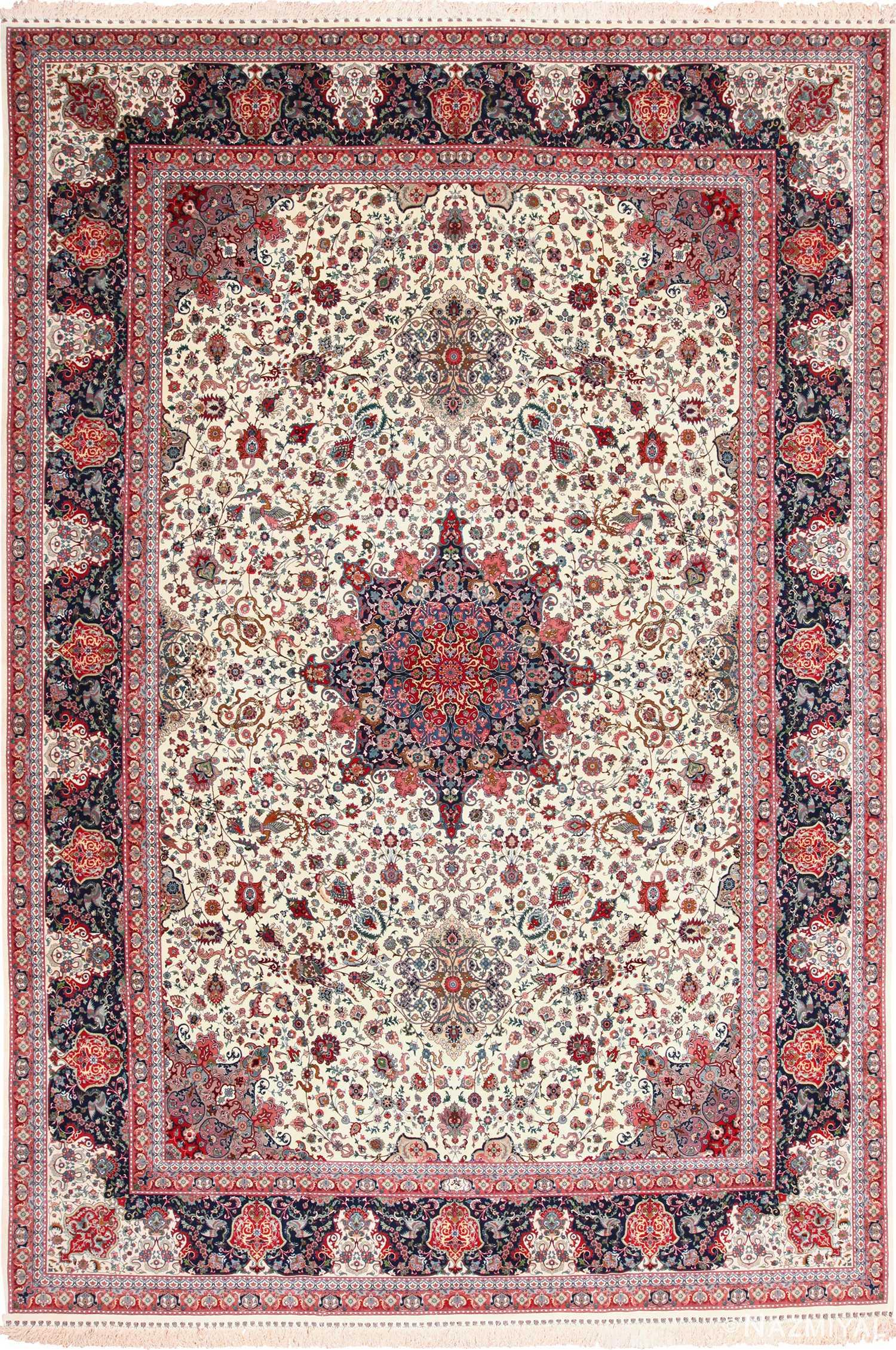 Large Vintage Silk and Wool Persian Tabriz Rug 60016 by Nazmiyal