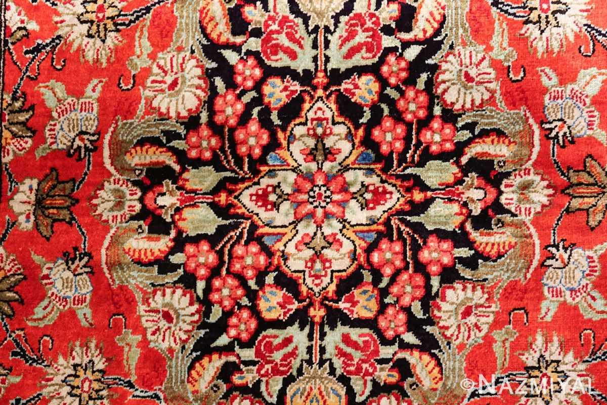 animal motif silk vintage qum persian runner rug 49602 center Nazmiyal