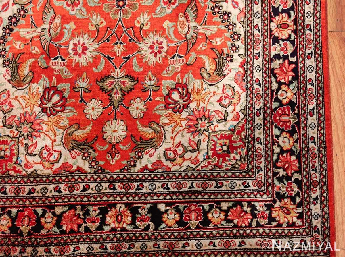 animal motif silk vintage qum persian runner rug 49602 corner Nazmiyal