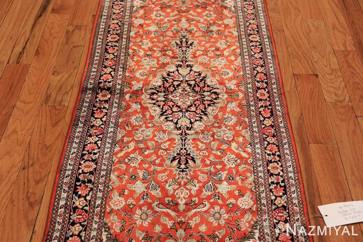 animal motif silk vintage qum persian runner rug 49602 field Nazmiyal