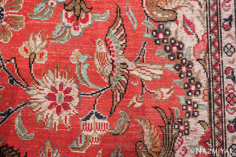 animal motif silk vintage qum persian runner rug 49602 knots Nazmiyal