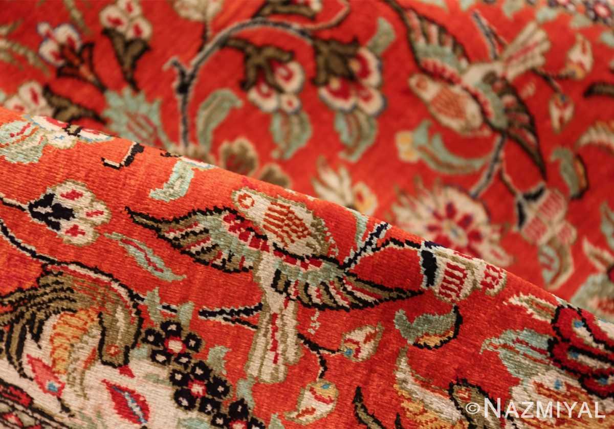 animal motif silk vintage qum persian runner rug 49602 pile Nazmiyal