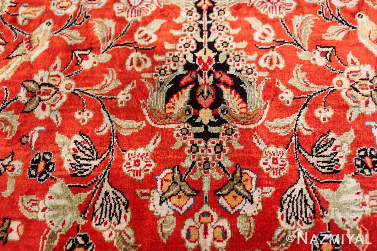 animal motif silk vintage qum persian runner rug 49602 sparrow Nazmiyal