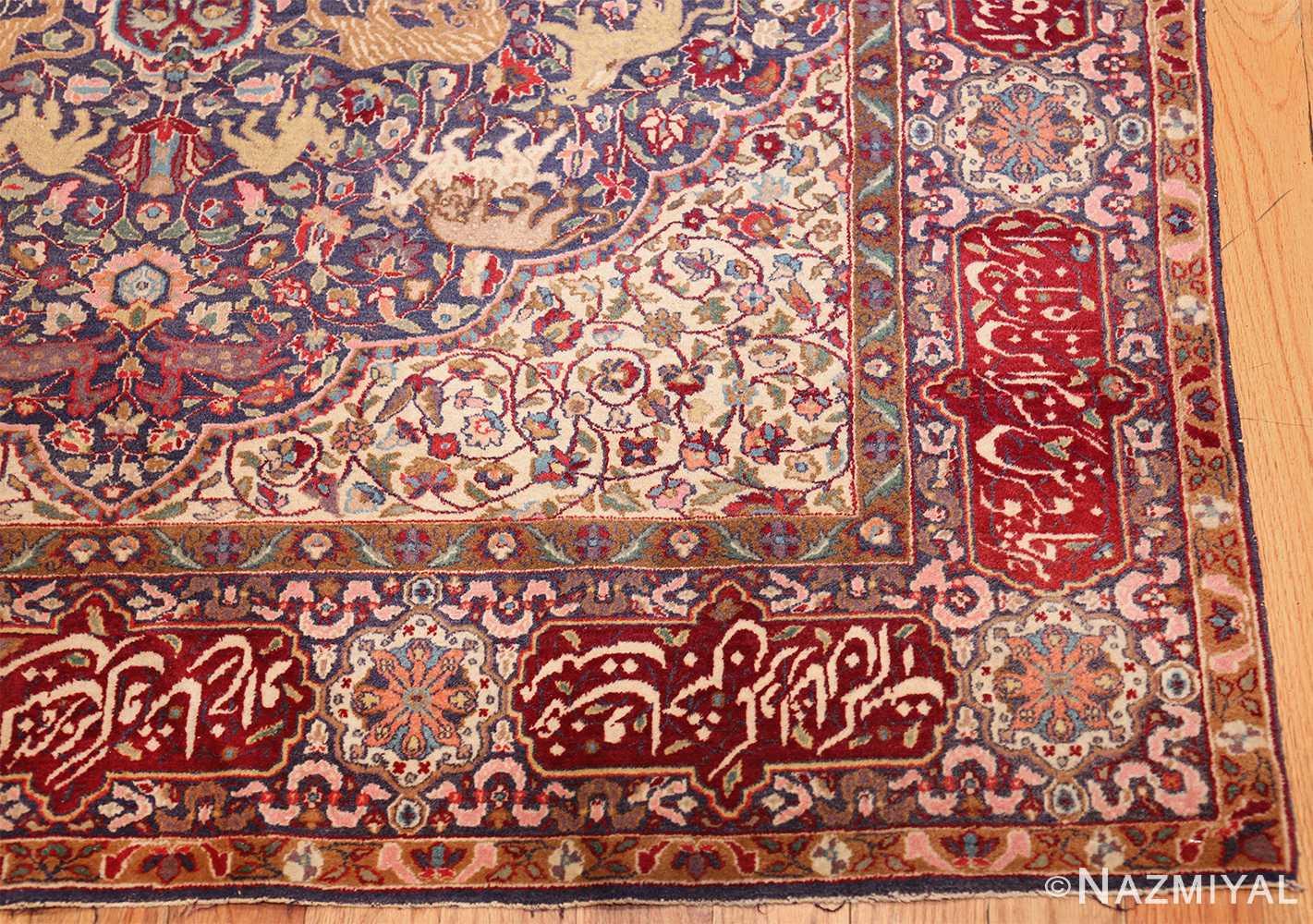 antique animal motif agra indian rug 49623 corner Nazmiyal