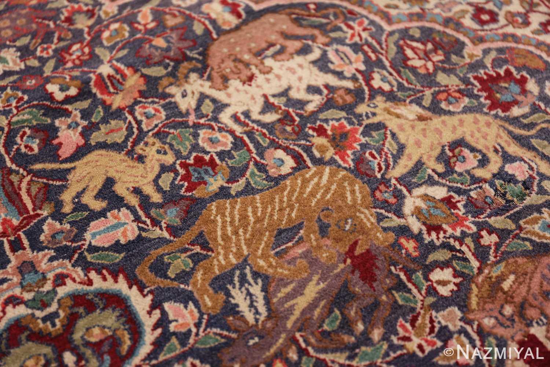 antique animal motif agra indian rug 49623 hunting Nazmiyal