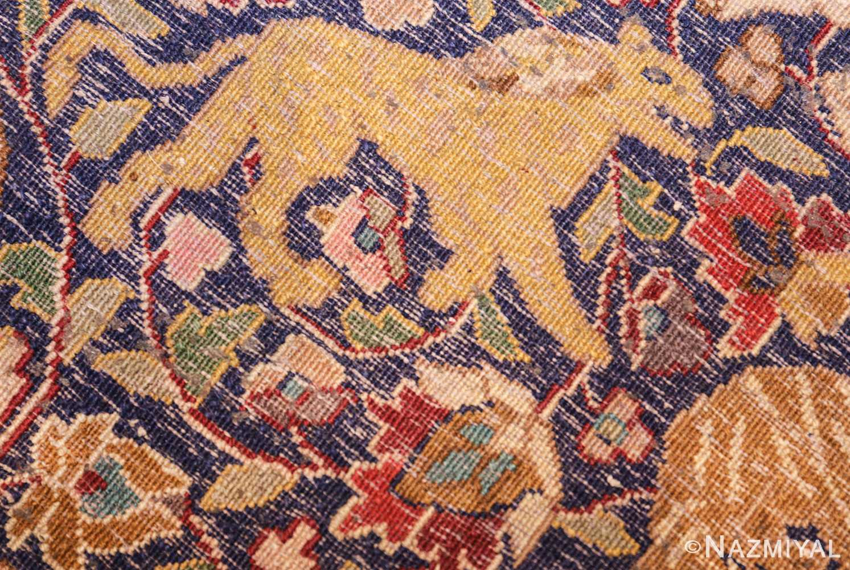 antique animal motif agra indian rug 49623 knots Nazmiyal
