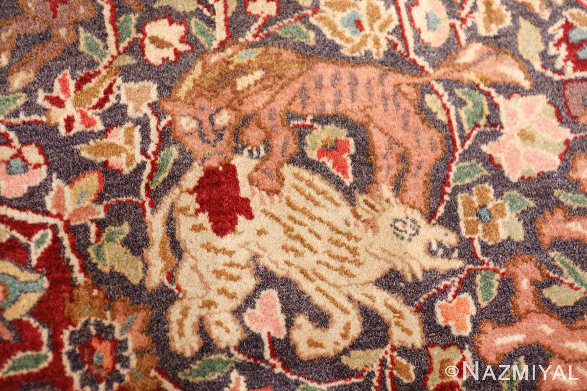 antique animal motif agra indian rug 49623 lion Nazmiyal