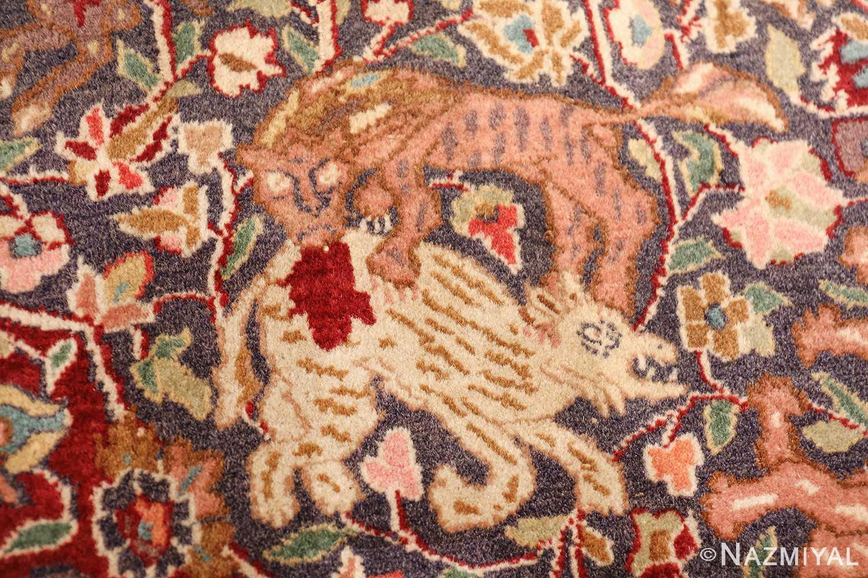 antique animal motif agra indian rug 49623 lion Nazmiyal