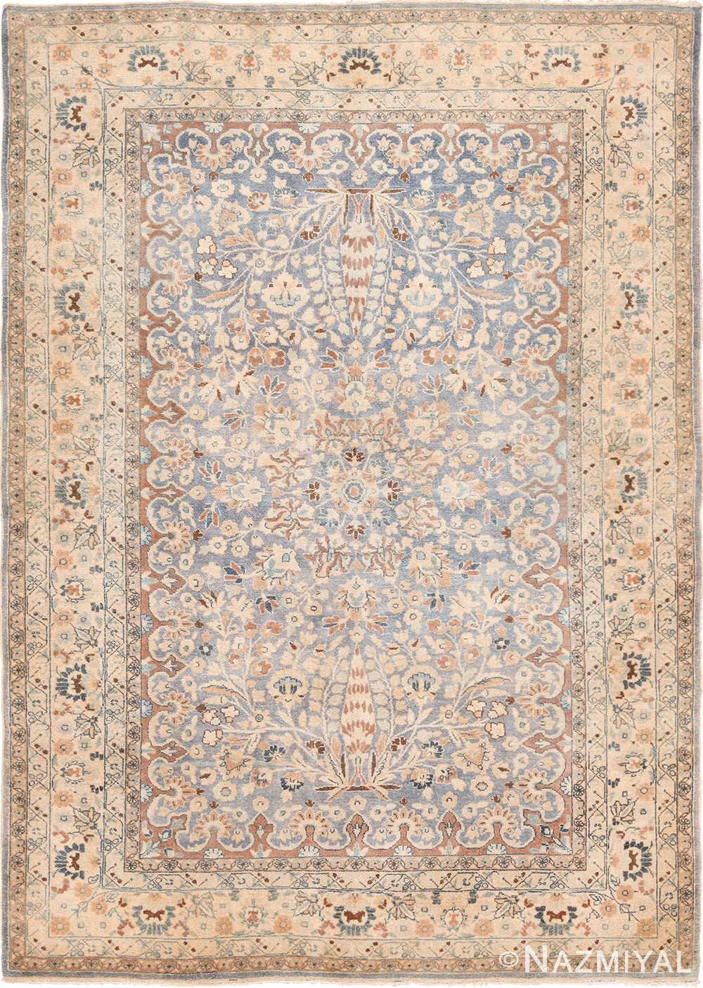 Light Blue Background Antique Persian Khorassan Rug 49597 by Nazmiyal