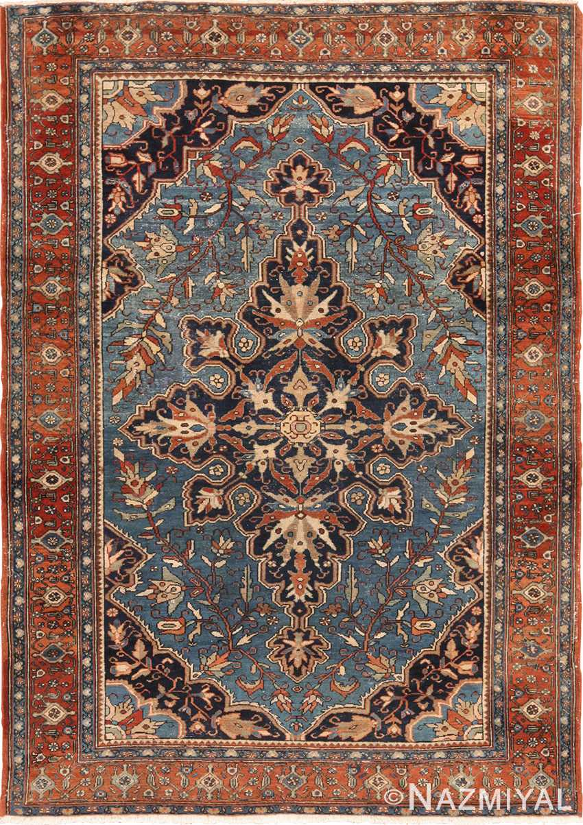 Small Light Blue Background Antique Persian Malayer Rug 49650 by Nazmiyal