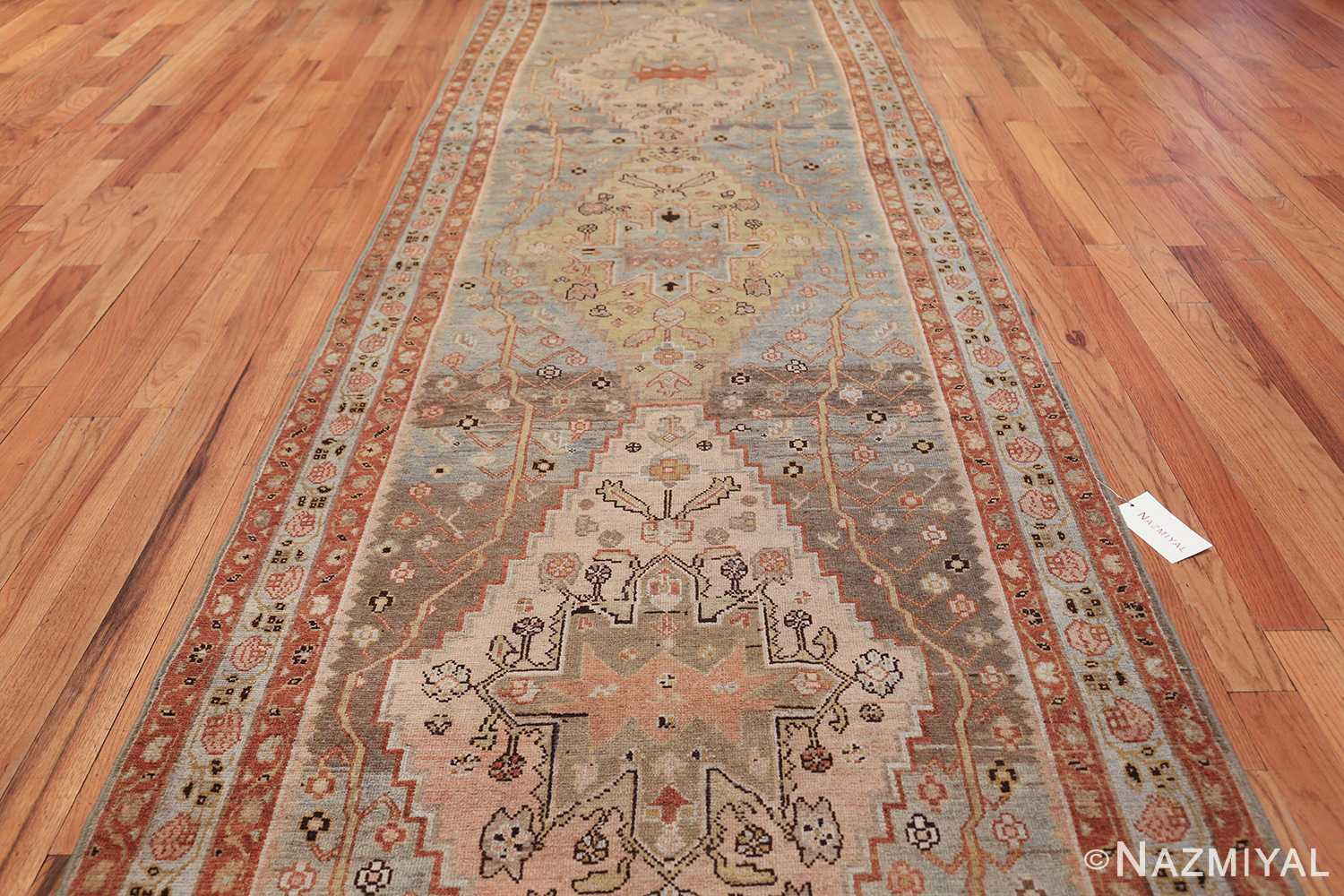 antique blue background malayer persian runner rug 49626 field Nazmiyal